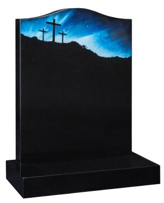 16001 - A traditional Ogee shaped headstone with a sandblast and painted crucifix scene. The night sky is inset with crystals.