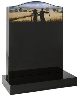 16002 - Ogee headstone with a sandblast and painted rural scene in silhouette.