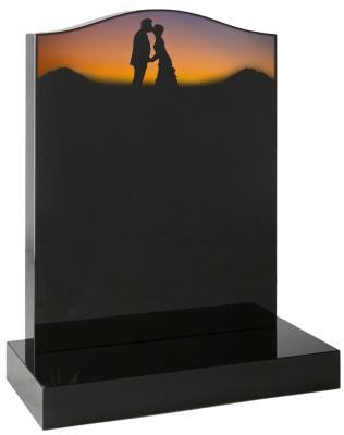 16003 - Ogee headstone with a sandblast and painted romantic silhouette scene.