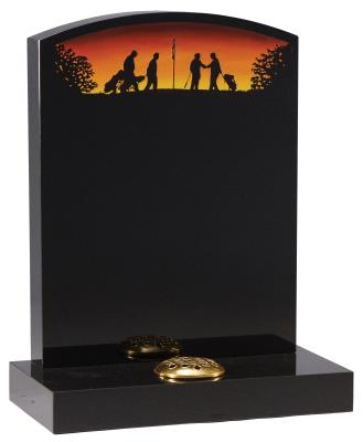 16004 - An oval top headstone with a sandblast and painted golf silhouette scene.