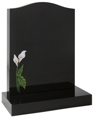 16013 - A traditional 'Ogee' top headstone with a sandblasted and painted lily design.