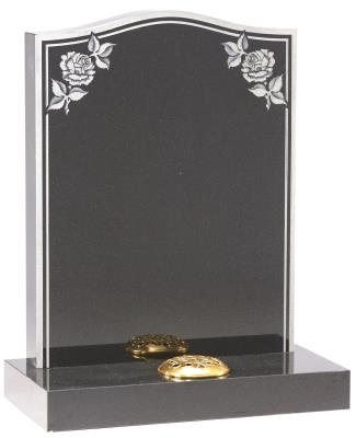 16018 - A double border frames the polished surface and the sandblasted rose designs add to the classic look of this memorial.