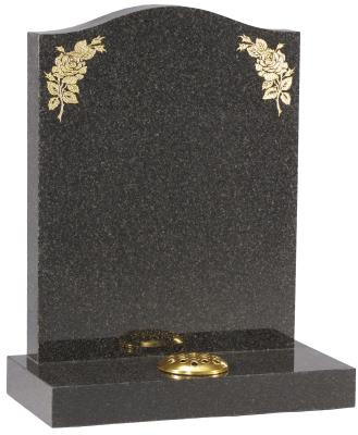16019 - The rose designs on this headstone are inlaid with 23.5 ct gold leaf.