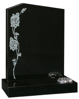 16035 - An 'Offset Peon' headstone with a sand blasted monotone rose design.