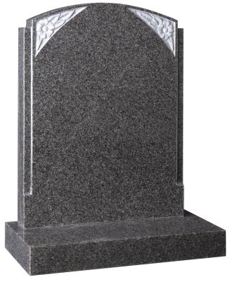 16038 - The rebated sides on this headstone are reminiscent of the Art Deco style. The carved flowers add aesthetic appeal.