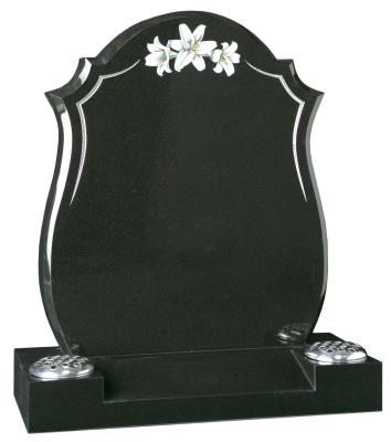 16042 - A contemporary headstone featuring a tapered pin line design with a hand painted trio of lilies. The centre splayed base is bored for two vases.