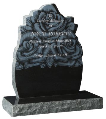 16050 - A laser etched rose design is complemented by pitched edges to the headstone & base.