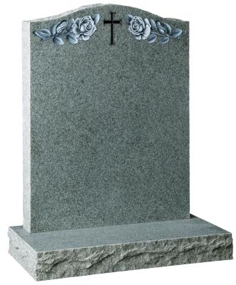16059 - An Ogee shaped headstone with carved cross and roses. Pitched edges to the sides and base.