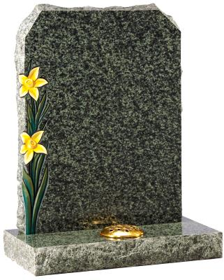 16060 - The carved and painted daffodils create a contrast to the rustic headstone and base.