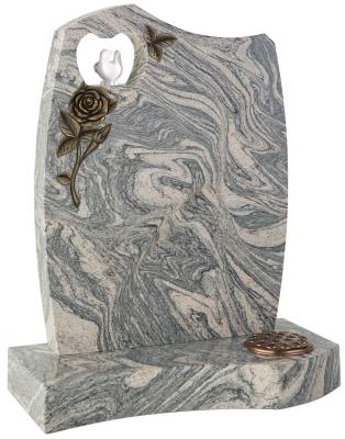 16065 - This contemporary shaped headstone has a pierced heart within which sits a painted resin dove. A deep carved rose adds a further dimension to this unique memorial.