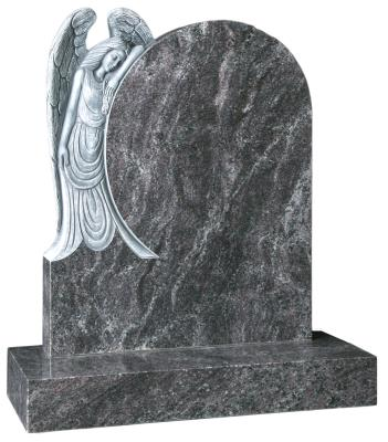 16069 - The mourning Angel is fully carved into the rounded headstone.