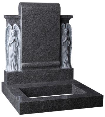 16072 - An engaging headstone and kerb set with two hand carved Angels standing either side of a polished scroll.