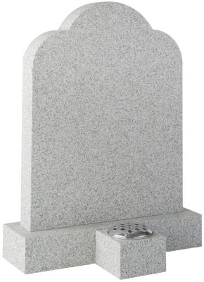 16116 - A trefoil shaped headstone with rounded shoulders, rectangular base and square vase