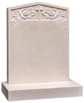 16124 - This beautiful headstone is carved with a cross & rose design