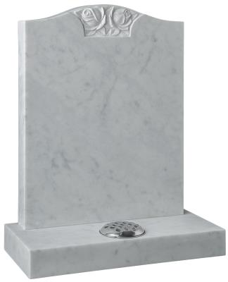 16131 - The traditional 'Ogee' shaped headstone is enhanced by the beautifully carved rose design